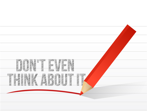 dont even think about it written on a notepad paper. illustration design