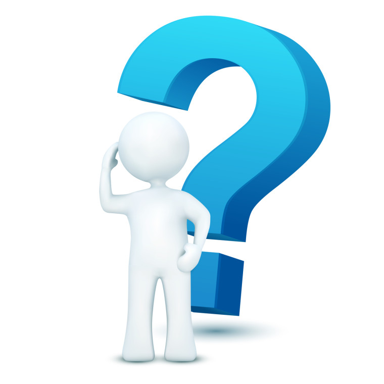 illustration of 3d character with question mark on an isolated white background