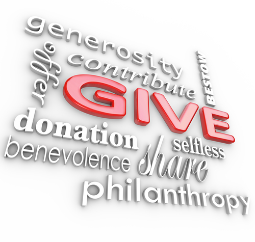 Many 3D words on a white background with a big word Give in red letters surrounded by related terms such as donation, benevolence, offer, share, generosity, con