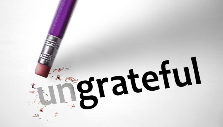 Eraser changing the word Ungrateful for grateful