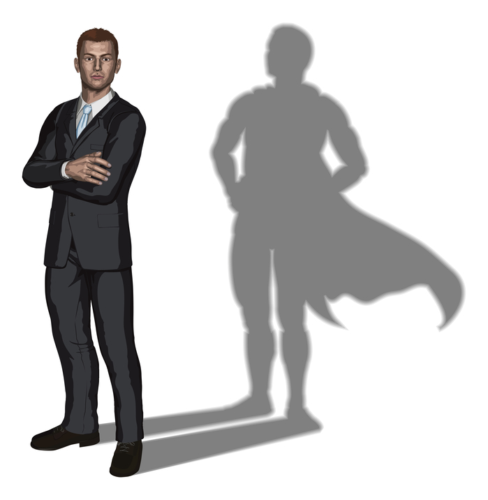 Illustration of confident handsome young businessman standing with arms folded with superhero shadow concept