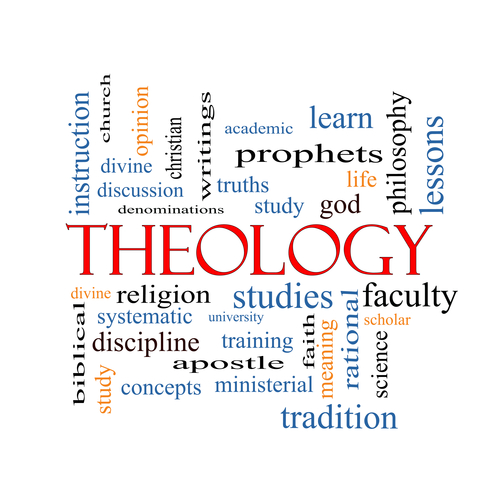 Theology Word Cloud Concept with great terms such as study, religion, God and more.