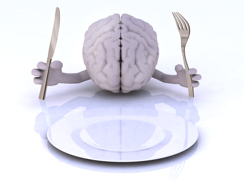 the brain with hands and utensils in front of an empty plate
