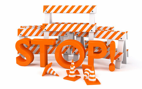 Road work sign stop on white